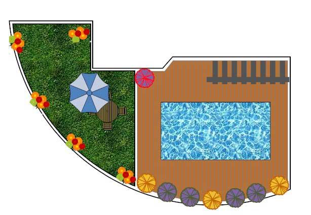 גינה - תכנון והקמת גינה בריכה מחופה בדק סינטטי עם תאורת לילה רומנטית