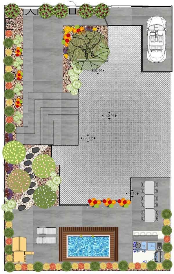 גינות שילוב בטון מוחלק - עיצוב גינות - שילוב בטון מוחלק/בומנייט