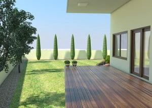 הדמיית עיצוב גינה ממוחשבת בפרויקט סביוני ברוריה בבנימינה