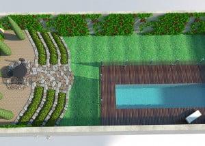 תיכנון להקמת בריכת שחיה פרטית ויוקרתית בקיסריה 7 300x214 - פרויקטים אחרונים - עיצוב גינות אמנות הגינה הקסומה