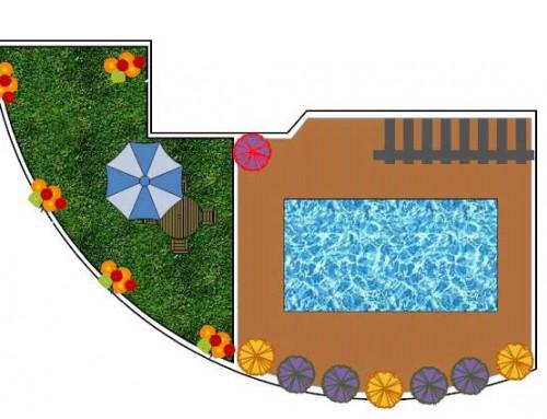 תכנון והקמת גינה בריכה מחופה בדק סינטטי עם תאורת לילה רומנטית