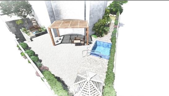 1 - הדמיית עיצוב גינה - פרויקט בחיפה