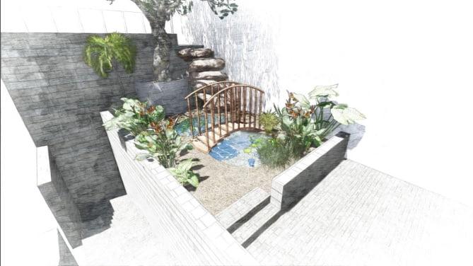 2 - הדמיית עיצוב גינה - פרויקט בחיפה