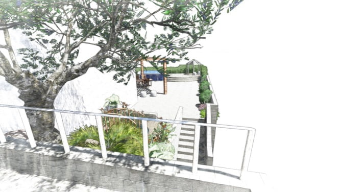 5 - הדמיית עיצוב גינה - פרויקט בחיפה