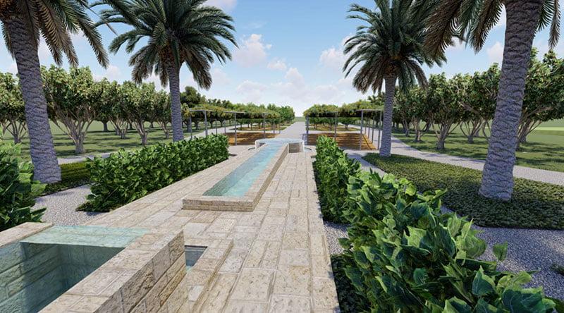 של מפל המים בתכנית - אדריכל גינות ונוף