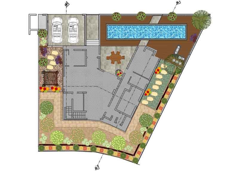 """צוות """"אמנות הגינה הקסומה"""" מבצע ללקוחותיה תכנון מעמיק של הגינה בעזרת תוכנת SMARTDRAW המאפשרת ביצוע תכנון הכי קרוב למציאות."""
