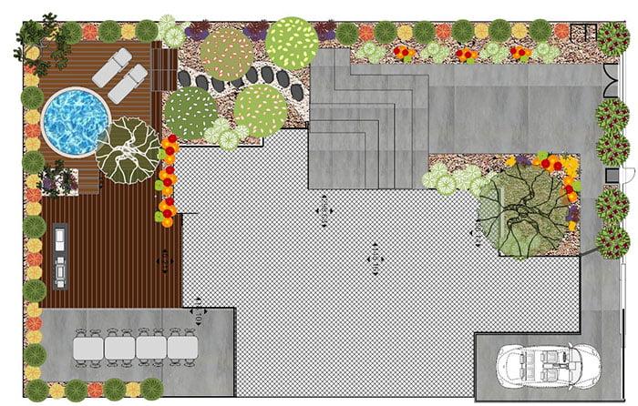 תכנון גינות פרטיות עם בריכה - שרטוט