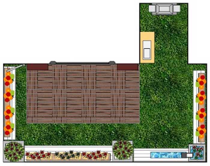 תכנון גינת גג ומרפסת