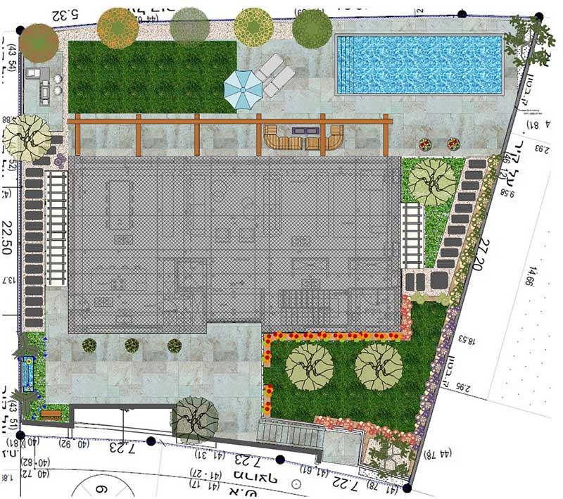פרויקט תכנון נוף ועיצוב דינה בשוהם - תכנון ופיתוח נוף